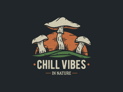 Chill Vibes  - Vintage Tee Design wanderlust grundge distressed retro sunset streetwear t-shirt graphic tee tee nature illustration nature mushrooms vintage logo logo illustrator illustration vintage vector graphic design branding