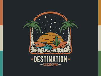 Destination Unknown - Tee design surf beach river wanderlust supplyanddesign grunge distressedunrest streetwear t-shirt design landscape surfing desert palms vector retro illustrator illustration vintage graphic design branding