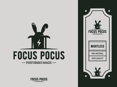 Focus Pocus - Vintage energy drink identity hand draw graphic design hat illustrator logos energy magician magic rabbit retro brand identity brand design logo logodesign logomark vintage branding