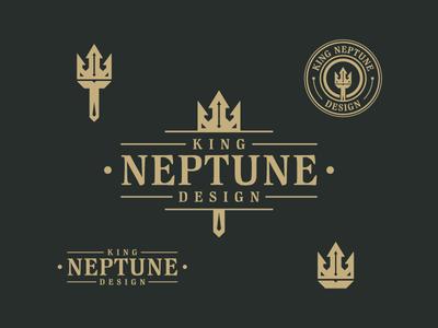 King Neptune Design - Vintage Logo logoinspiration logotype brand crown logomark badge design trident logo designer vintage logo neptune illustrator graphic design iconography bold retro vintage brand identity design branding