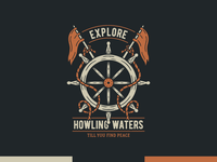 Howling Waters - Vintage Illustration wanderlust dailyillustration redbubble tee design distressed teedesign sailor wheel sailing ship ocean sailing sea retro logo illustrator illustration vector vintage graphic design branding