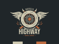 Devil's Highway - Vintage Illustration t-shirt design redbubble musclecar illustration t-shirts streetwear biker road highway badge logo t-shirt retro vintage wings wheel car motorcycle badge