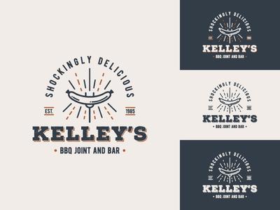 Kelley's BBQ & Bar - Patrikorgdesign logo designer typography logo distressed brand identity brand design beef sausage vintage retro bbq burger food branding