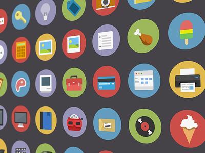 Flatties - Vector icon set vector flat psd ai icon simple clean modern fun cool friendly colourful retro