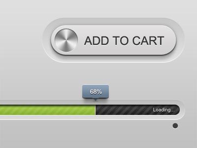 Clean Loader & cart button ui user interface ipad iphone web loader bar tool tip cart button metal clean simple