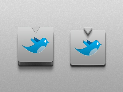 Twitter Button - Free PSD 3d depth twitter shadow realistic cool grey blue freebie original