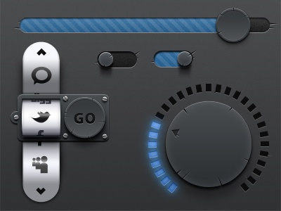 Derailed Ui Set -  Free PSD free psd download damaged ui user interface scroll wheel button cool unique design cracked vintage