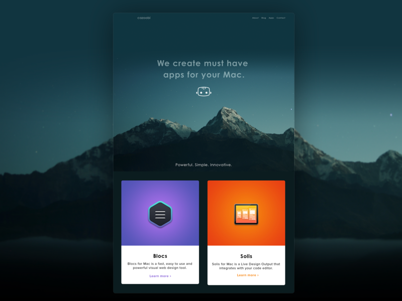 Cazoobi Site Redesign web design mountains mac app apps application