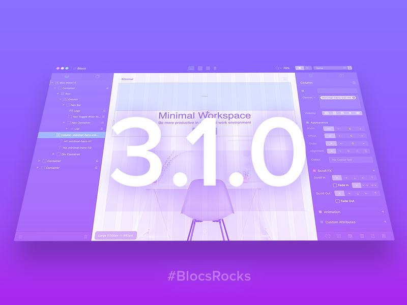 Blocs 3.1.0 web builder tool ui design web app mac user interface