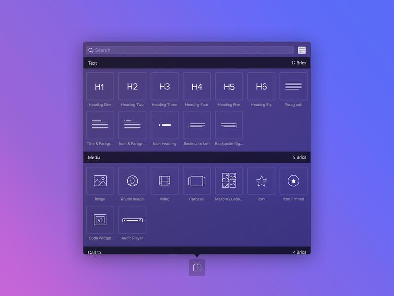 Blocs 3.2 - New Bric Bar UI popover popup user interface ui design web app mac