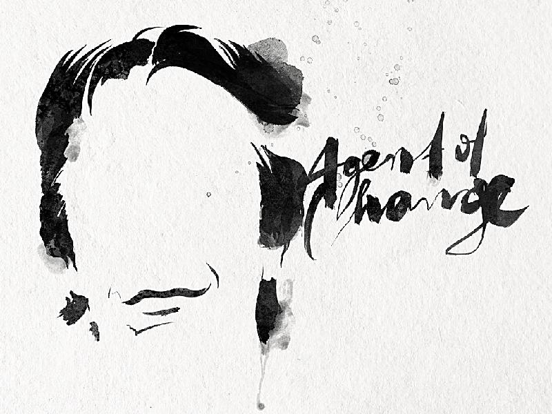Alan Rickman  lettering expressive illustration typography ink brush