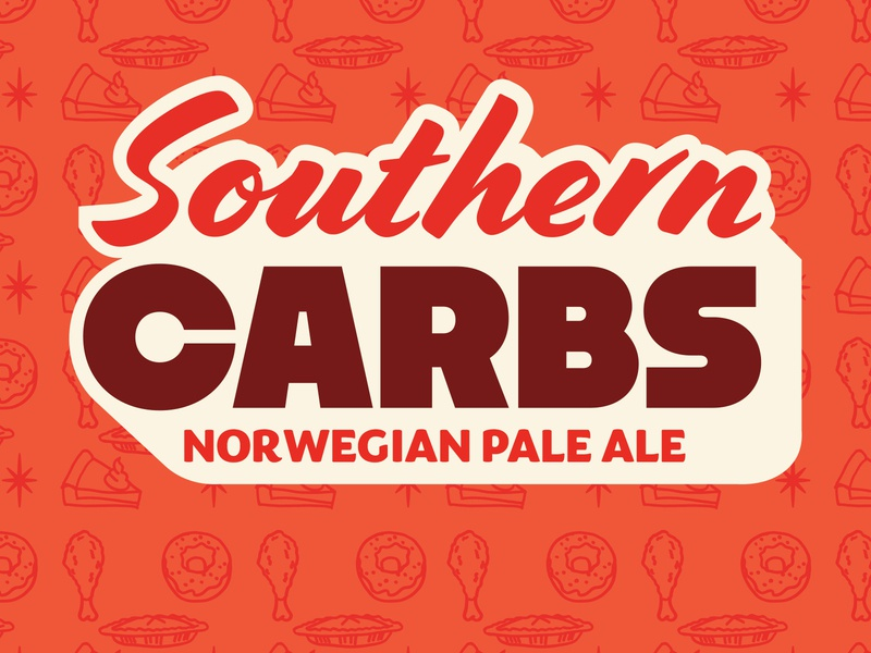Southern Carbs Collab Beer logo india pale ale typography branding vector design illustration craft beer beer