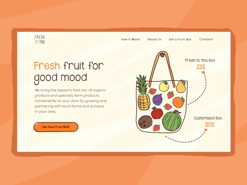 Fresh to you website typography illustration hand drawn website ui fruits organic
