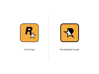 Rockstar Games Logo Redesign star logo rockstar r logo red dead redemption monogram logo redesign letter r icon gta grand theft auto games branding