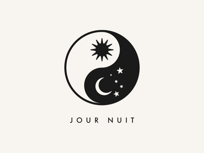 Jour Nuit / Day Night Clothing Logo Mark Design minimalist logo design branding icon emblem logo mark stars moon sun ying yang day night jour nuit
