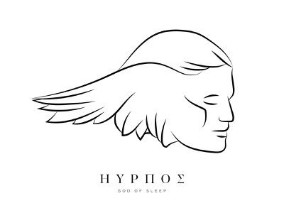 Hypnos / Greek God of Sleep Illustration & Logo Design branding logo design lineart vector art sketchbook sketch illustration god of sleep sleep greek god hypnos