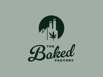 Factory + Cannabis Leaf / Fun Logo Design for Baked factory logo mark mark logo design logo cannabis cannabis logo factory baked branding cannabis branding