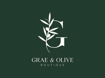 Grae & Olive Boutique Monogram G Logo Mark & Branding Design cool symbol minimalist olive tree branding boutique logo mark logo olive branch olive letter g g logo monogram