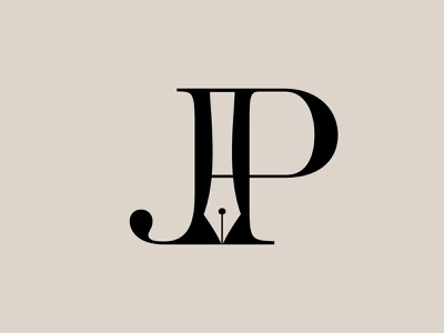 """JP + Fountain-Pen"" Monogram Logo & Letter Mark Design minimalist fountain pen branding logo design monogram logotype letter mark logo mark logo letter pj jp"