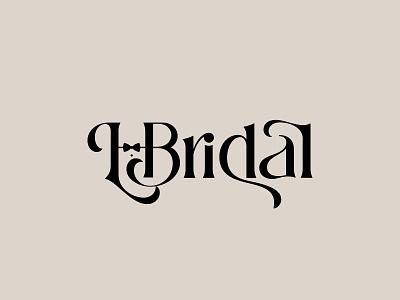 L. Bridal Wordmark Logo Type Design bow tie typography logotype lettering branding groom bride logo design logo wordmark wedding bridal