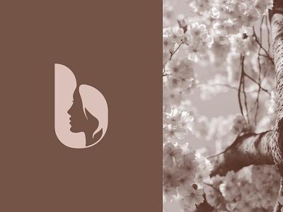 B + Woman Face Logo Mark Design for Fashion & Beauty Company branding minimalist logo fashion logo beauty logo monogram logo logo design logo mark logo silhouette face woman b logo letter b