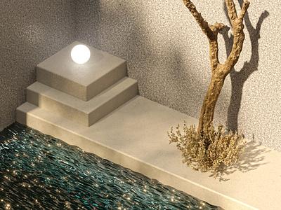 Exloring New Styles minimalism tree light glow water coronarender 3ds max 3d animation 3d modeling 3d art 3d