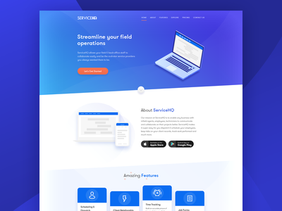 ServiceHQ - Landing Page ux ui illustration header product page home page landing page