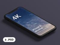 Free Black Clay iPhone X Mockup .PSD