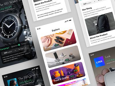 Crowdfunding App Concept list product page about menu ui design kickstarter indiegogo crowdfunding categories campaign app concept