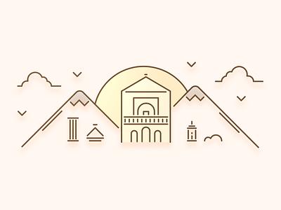 Marrakesh City Illustration sunset mountains clouds history city illustration city morocco
