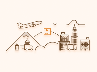 Shipping Page Illustration city plane illustration shipping page website ecommerce shipping