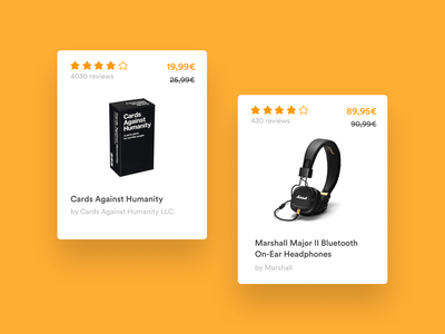 Amazon — Product Cards desktop uxui cards ui ux ecommerce cards redesign