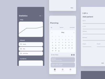 Mindler — Wireframes ux  ui uxdesign application alzheimer health app health mental health mentalhealth mental uxui ui ux app dementia mindler