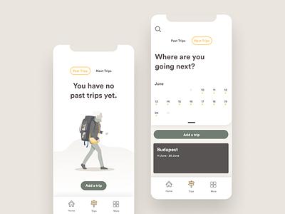 Datatrip — Trips app mobile app mobile data viz traveling travel app trip planning calendar data visualization datatrip data