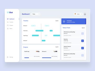 Slot — Productivity Tool blue design team teams project dashboard manager slots timeline web app desktop work work tool time slot productivity app productive productivity
