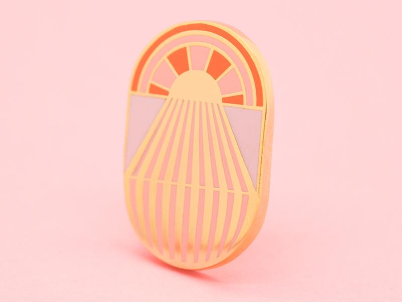 Geo Pin - Sun photography sunny sun rays lapel pin enamel pin design vector illustration