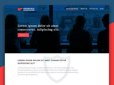 Kreindler Associates law landing page homepage ux design ui design