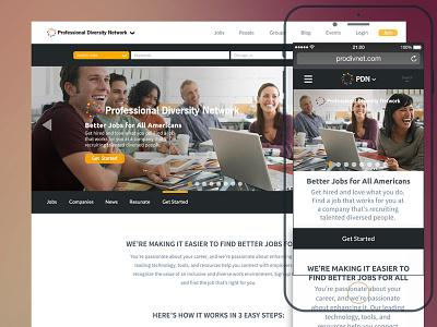 Professional Diversity Network Website mobile responsive ux design ui design web design