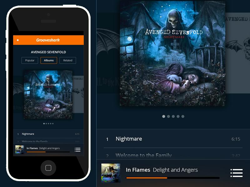 Grooveshark Mobile Concept concept grooveshark iphone app music player