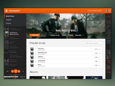 Grooveshark Redesign grooveshark music player spotify play
