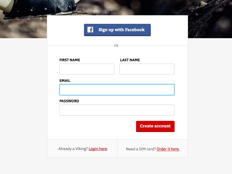 Viking Login fields connect facebook account form login