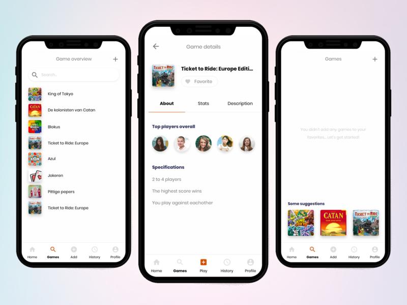 App Concept listview tabs navigation search list avatars iphone clean app games