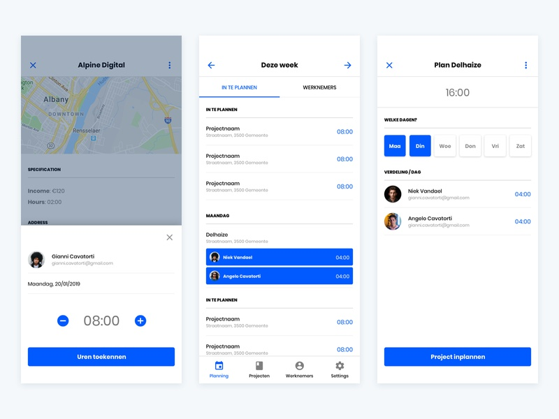 Planning App selected mobile app design concept toggle android iphone navigation tabs list modal map users calendar schedule app planning