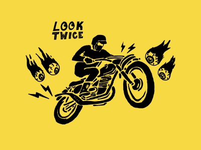 look twice lettering motorcycles eyeballs illustration