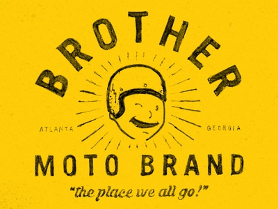 Brother Moto Brand hand drawn helmet yellow moto atlanta motorcycle wink