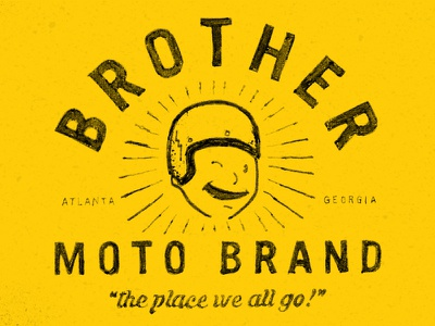 Brother Moto Brand hand drawn helmet yellow moto atlanta motorcycle wink