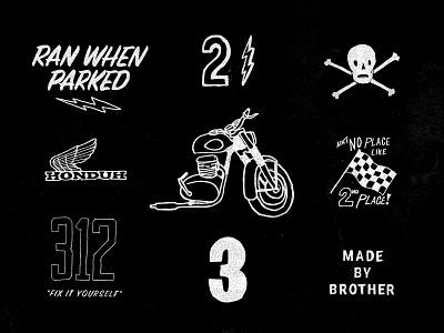 scrap yard skull hand drawn numbers honda moto motorcycles brother brother moto