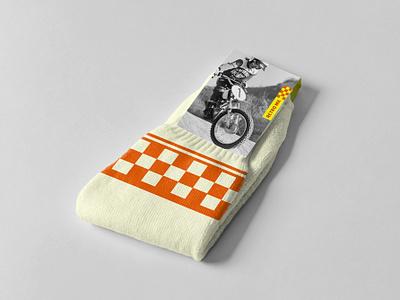 Moto Socks packaging motorcycles motorcross vintage socks