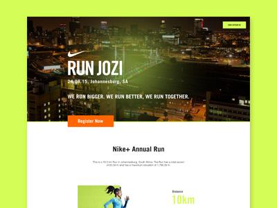 Nike Run Jozi - Landing Page Redesign nike nike  club run nike run jozi landing page ux design ui design