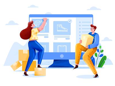 Online shopping gif ux web ui website animation illustrator illustration graphicdesign character design